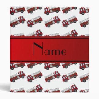 Personalized name white firetrucks red stripe binders