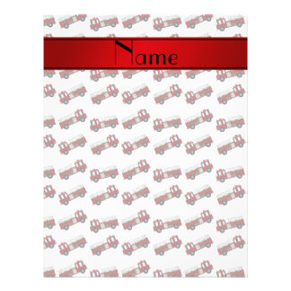 "Personalized name white firetrucks red stripe 8.5"" x 11"" flyer"