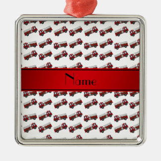 Personalized name white firetrucks red stripe square metal christmas ornament