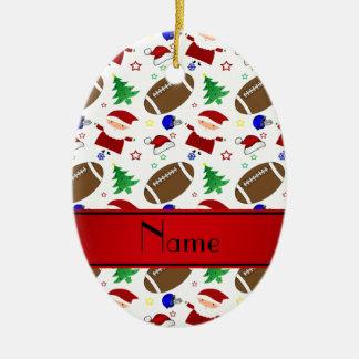 Personalized name white football christmas ceramic ornament