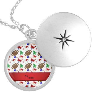 Personalized name white football christmas pendant