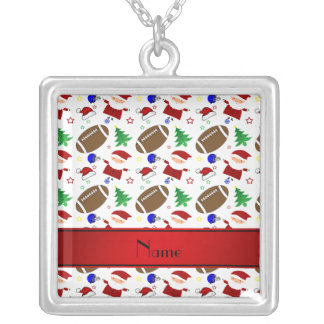 Personalized name white football christmas necklace