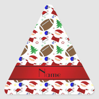 Personalized name white football christmas triangle sticker