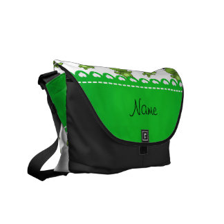 Personalized name white frogs courier bag