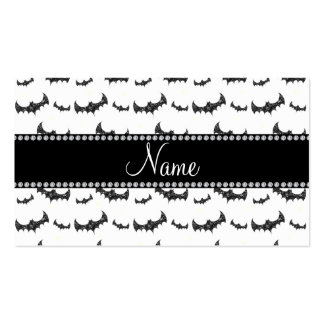 Personalized name white glitter bats Double-Sided standard business cards (Pack of 100)