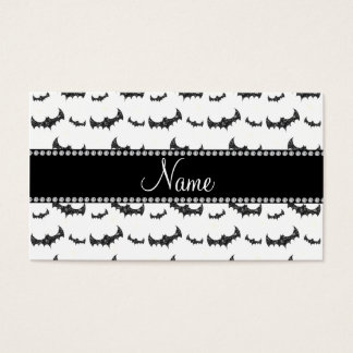 Personalized name white glitter bats business card