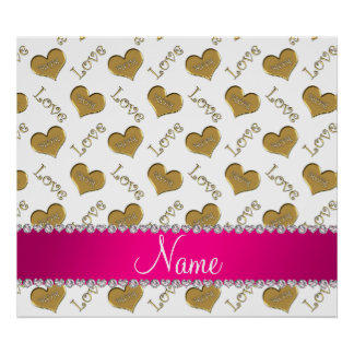 Personalized name white gold hearts mom love poster