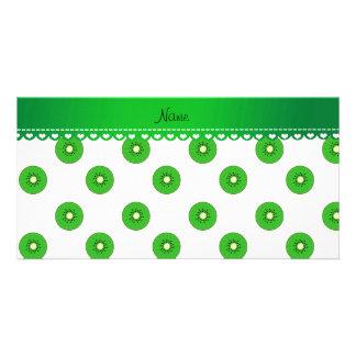 Personalized name white green kiwi photo card