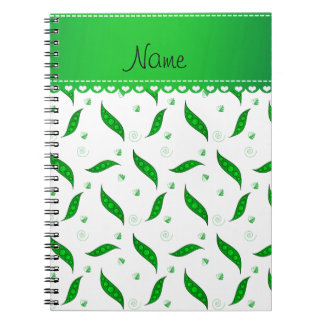 Personalized name white green peapods spiral notebooks