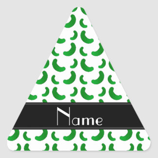 Personalized name white green pickles triangle stickers