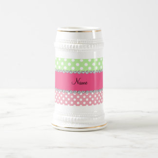 Personalized name white green pink polka dots 18 oz beer stein