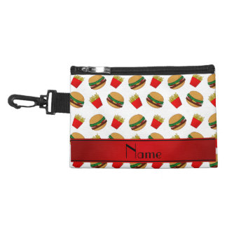 Personalized name white hamburgers fries accessory bags