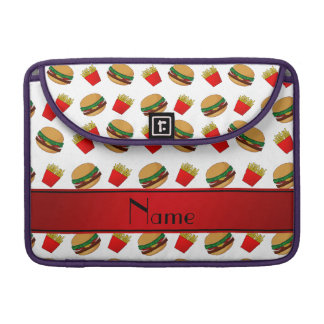 Personalized name white hamburgers fries sleeves for MacBooks
