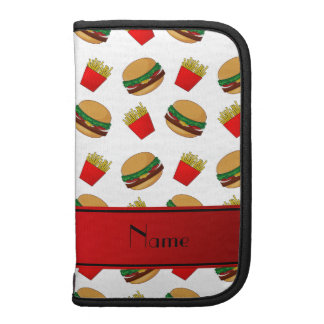 Personalized name white hamburgers fries planners