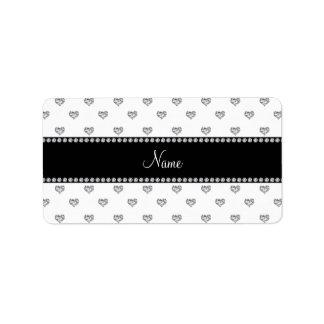Personalized name white heart diamonds personalized address label
