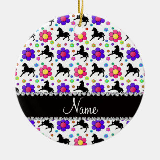 Personalized name white horses flowers pattern ceramic ornament