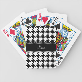 Personalized name white houndstooth bicycle playing cards