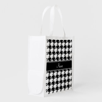 Personalized name white houndstooth grocery bag