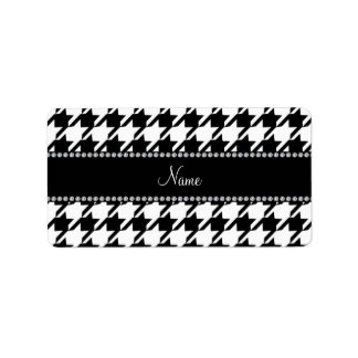 Personalized name white houndstooth label