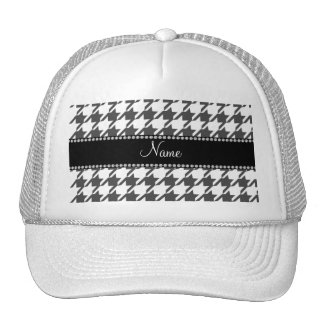Personalized name white houndstooth pattern trucker hat