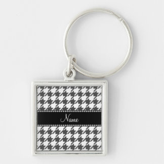 Personalized name white houndstooth pattern keychain