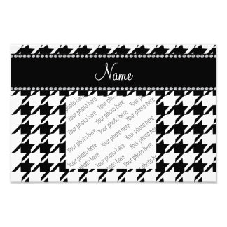 Personalized name white houndstooth photograph