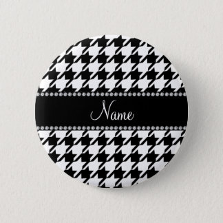 Personalized name white houndstooth pinback button