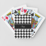 Personalized name white houndstooth poker cards