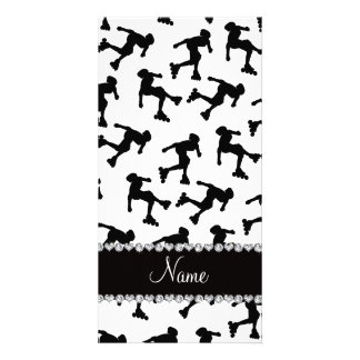 Personalized name white inline skating photo card