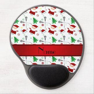 Personalized name white lacrosse christmas pattern gel mousepads