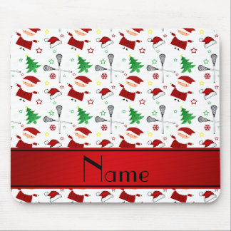 Personalized name white lacrosse christmas pattern mousepads