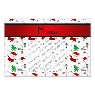 Personalized name white lacrosse christmas pattern photo art