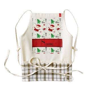 Personalized name white lacrosse christmas pattern zazzle HEART apron