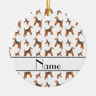 Personalized name white Lakeland Terrier dogs Ceramic Ornament