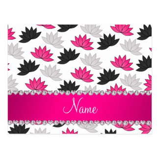Personalized name white lotus flowers postcard
