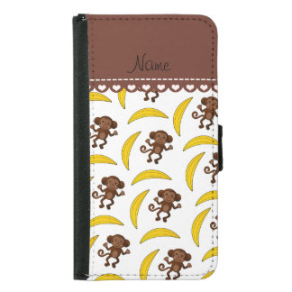 Personalized name white monkey bananas wallet phone case for samsung galaxy s5