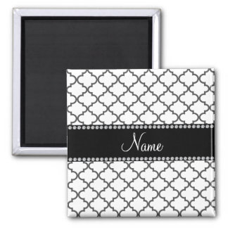 Personalized name White moroccan 2 Inch Square Magnet