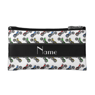Personalized name white motorcycles cosmetic bags