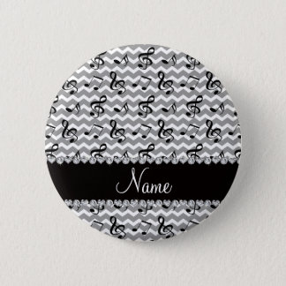 Personalized name white music notes chevrons button