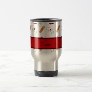 Personalized name white nurse pattern 15 oz stainless steel travel mug