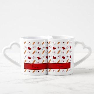 Personalized name white nurse pattern couples' coffee mug set
