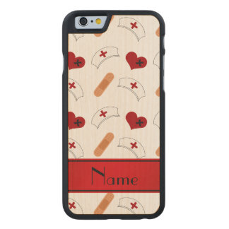 Personalized name white nurse pattern carved® maple iPhone 6 case
