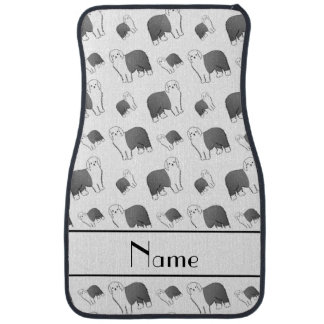 Personalized name white Old English Sheepdog dogs Car Mat