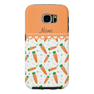 Personalized name white orange carrots samsung galaxy s6 cases