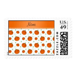Personalized name white orange pumpkins postage