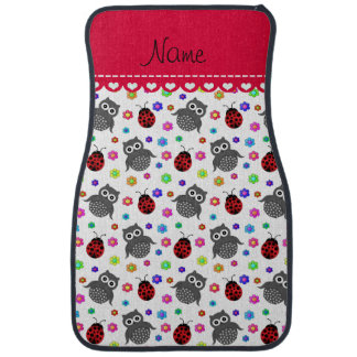 Personalized name white owls flowers ladybugs car mat