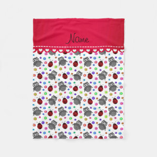 Personalized name white owls flowers ladybugs fleece blanket