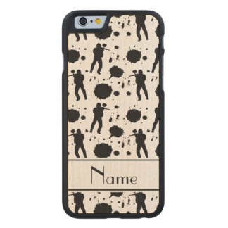Personalized name white paintball pattern carved® maple iPhone 6 slim case