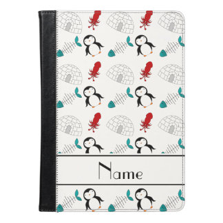 Personalized name white penguins igloo fish squid iPad air case