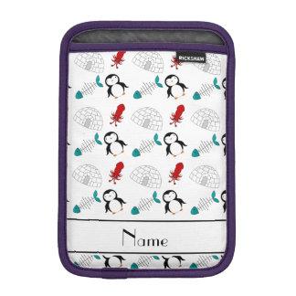 Personalized name white penguins igloo fish squid sleeve for iPad mini